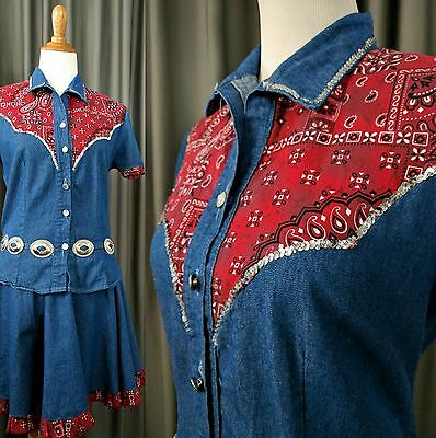Vintage Knight Styles Skirt Blouse Square Dance Western Outfit M Denim Bandana