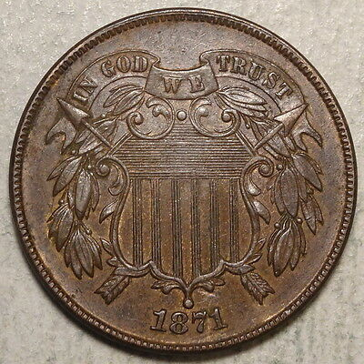 1871 Two Cent Piece, Double Die Obverse, KF-2-TDO, FS-02-1871-103, Rare  0702-03