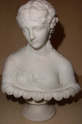 Antique Bisque Porcelain Bust of Young Woman on Pedestal France ?