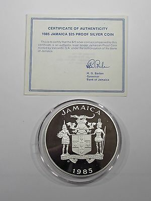 JAMAICA 1985 BU Proof $25 Dollars Large Silver Coin   #814s85JSD