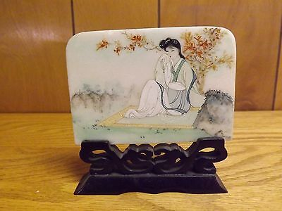 Vintage Chinese Painted Plaque w/ Wood Stand