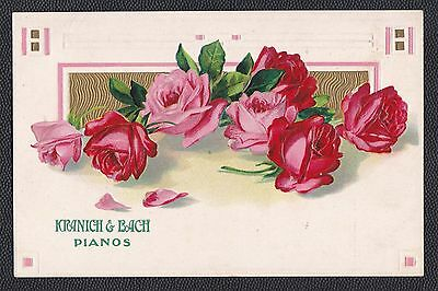 c1910 Kranich & Bach Pianos advertising postcard w/ beautiful roses, RARE