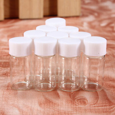 10Pcs 3ml Cute Small Glass Vials Bottles Clear Containers With Screw Cap Mini