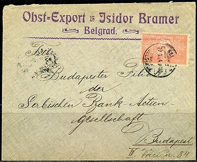Serbia Belgrade Isidor Brcover Canceled 04  Mailed To Serbian Bank Budapest