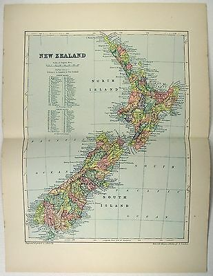 Original 1895 Map of New Zealand by  W & A.K. Johnston