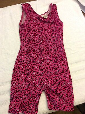 gymnastic or dance leotard in hot pink and black, size 12/14