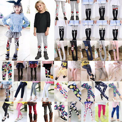 Girls Leggings Kids Toddler Baby Full Length Stretch Tight Pants Trousers 2-12Y