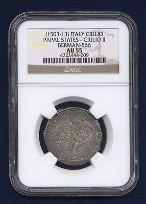 Italy Papal States Pope Julius Ii 1503-13 Giulio Silver Coin Ngc Certified Au55