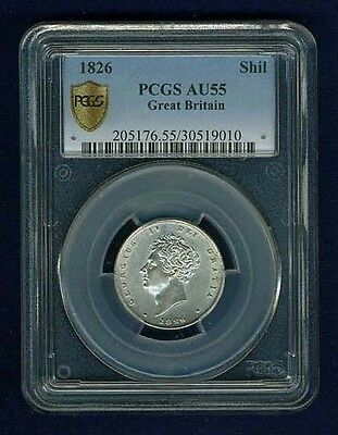 G.b./england George Iv  1826  1 Shilling Silver Coin Certified By Pcgs Au-55