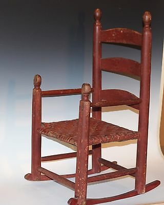 Antique Red Painted Folk Country Shaker Childs Rocking Chair Rocker Primitive