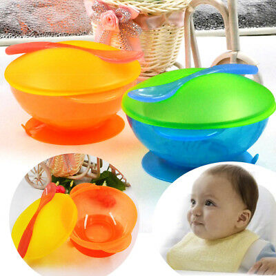 Baby Kid's Suction Cup Bowl Anti-Slip Tableware Feed Temperature Sensing & Spoon