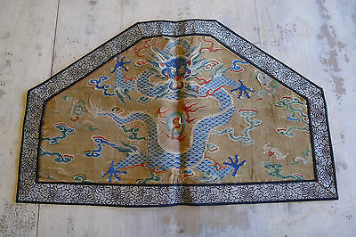 Rare old imperial Chinese silk kesi five clawed dragon fragment
