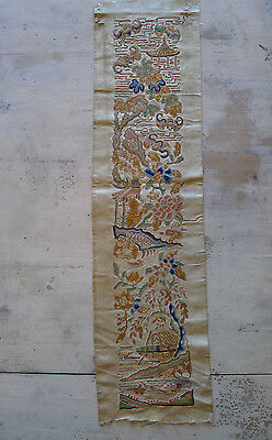 Stunning old Chinese embroidered silk forbidden stitched single sleeveband