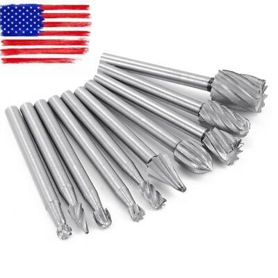 10*Pcs Solid Carbide Burrs Double Cut Set for Rotary Drill Die Grinder Carving