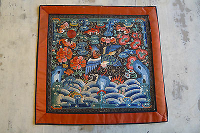 Beautiful old Chinese embroidered silk rank badge with bird (N30)