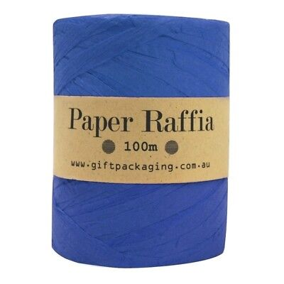 Blue Paper Raffia - 4mm x 100m Metres Bulk Roll - Gift Wrapping Packaging Twine