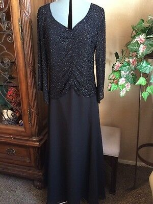 J KARA Black Beaded Formal Evening Dress Mother of Bride Long Sleeve Size 10
