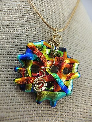 Abstract Ribbons * Rainbow * Dichroic Glass Pendant & Chain