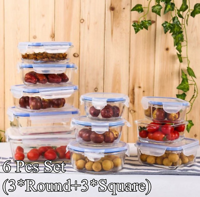 6XTempered Glass Food Container Sealed Microwave Lunch Box Fruit Meat Storage OZ
