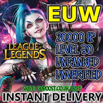 LoL EUW Account League of Legends Smurf 20000 IP Unranked Level 30