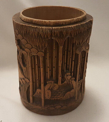 Chinese / oriental carved bamboo brush pot