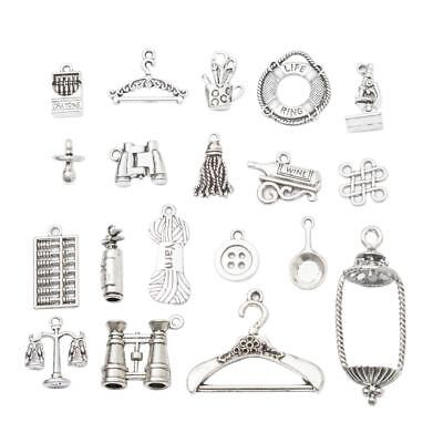 19pc Vintage Antique Silver Pendants Jewelry Findings Making Accessories DIY