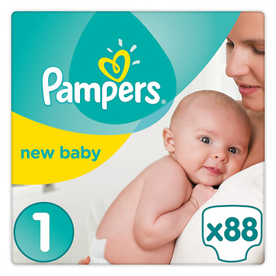 Couches Pampers taille 1 - Couche bébé jetable - Lot de 2 (x88 couches) Pack NEW