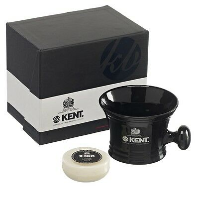 Kent  Shaving Mug with Luxury Soap Porcelain Black - SM BLK - GIFT BOXED XMAS!