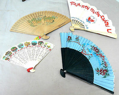Four Hand Fans Incl Vietnamese, & Chinese bamboo