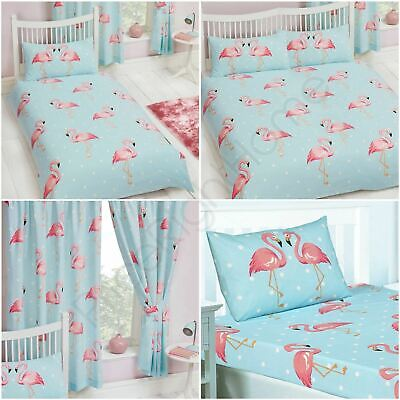 "Fifi Flamingo Bedroom Range - Duvet Cover Set Single Double, Curtains 54"" & 72"""