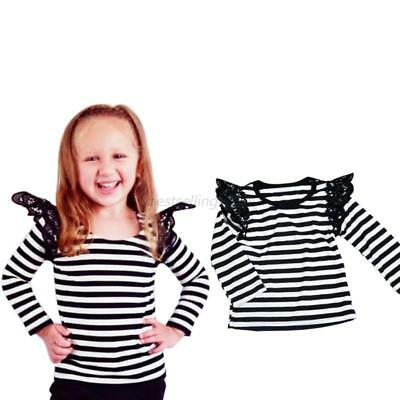 AU Baby Girl Lace Lace Top Kids Flying Long Sleeve T-shirt Blouse Clothes Cotton
