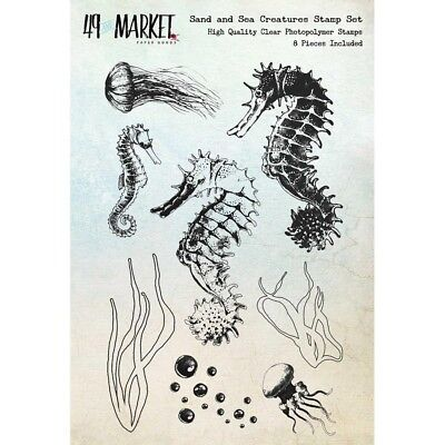 """49 & Market Clear Stamps 4""""X6"""" -Sand & Sea Creatures"""