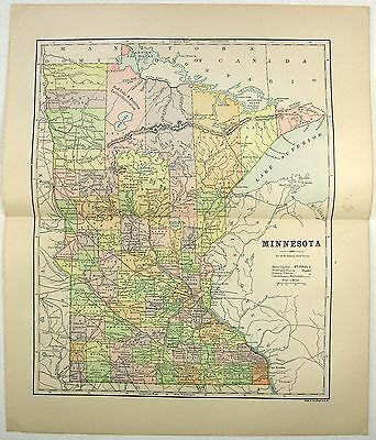 Original 1891 Map of Minnesota by Hunt & Eaton