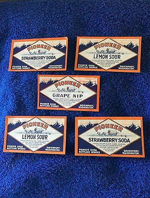 5 Pioneer Soda Labels- Davenport, Washington !!