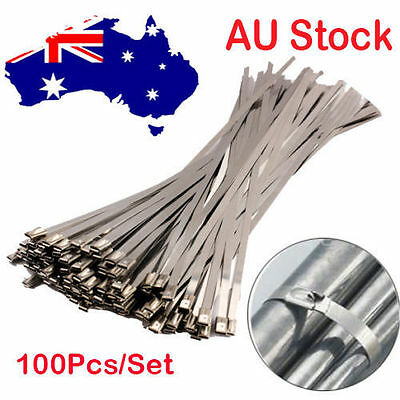 100PCS 4.6x200mm Stainless Steel Exhaust Wrap Coated Locking Cable Zip Ties AU