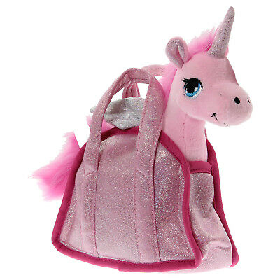 7 Inch Standing Pink Cuddly Soft Plush Unicorn Toy with Wings in Carrying Bag