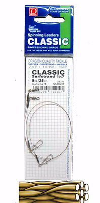 Dragon classic 1x7 surfstrand pike leader.7kg - 25cm 2pcs. pike,perch,lure