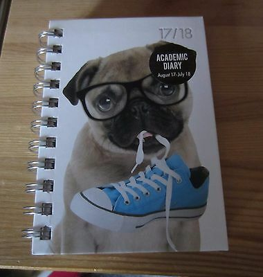 A6 Academic Diary  2017/18 2 days per page Pug Dog