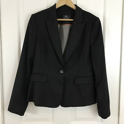 Cue Womens Blazer Size14 Black Wool One Button Corporate Suit Jacket