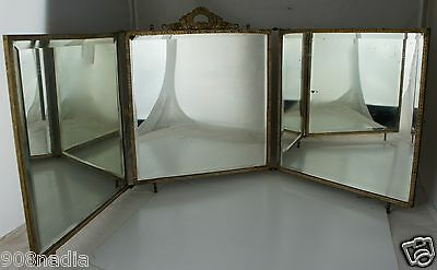 Antique Tri Fold Mirror,victorian Celluloid Panel,brass Frame