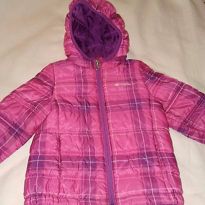 Toddler Girl's Eddie Bauer Pink Purple Plaid quilted jacket - size 3T