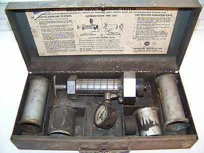 Antique 1950's 1960's Solder Seal Radiator Pressure Tester, Original Metal Case