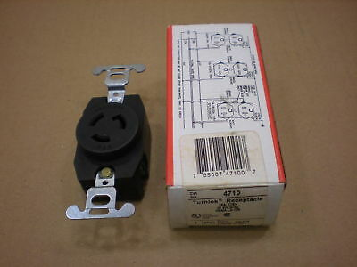 1 Nib Pass & Seymour 4710 Turnlok Receptacle Nema L5-15R 2P 3W Grounding