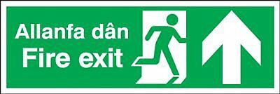 "Signs and Labels AMZML014LSAV ""Fire Exit Allanfa Dan"" Safe Condition Safety Self"