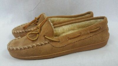 Minnetonka moccasins womens sherling lined slippers shoes sz 7 suede