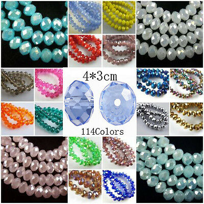 Bulk 100PCS Crystal Glass Faceted Rondelle Beads 4mm Spacer Jewelry Findings