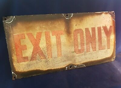 """Nice and Gnarly Vintage """"Exit Only"""" enamel sign"""