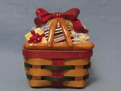 Longaberger Small Trinket Basket With Ceramic/porcelain Lid Bow & Gift Boxes