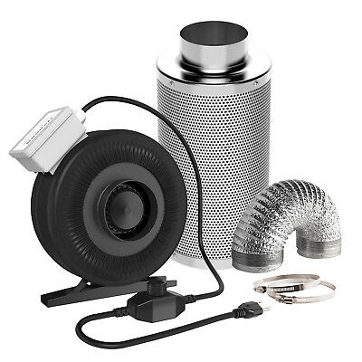 "VIVOSUN 4"" Inline Duct Fan w/ Speed Controller& Carbon Filter& 8FT Ducting Combo"