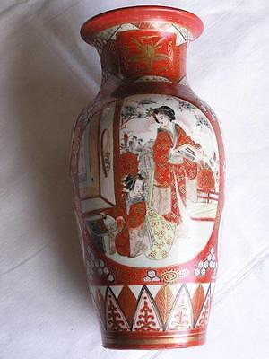 Large antique Japanese Kutani aka-e vase 1900-15 handpainted #0418